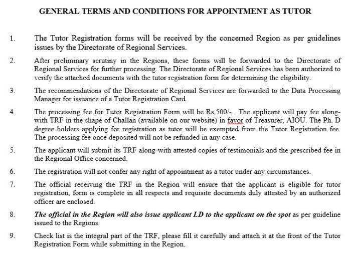Terms and Conditions for AIOU Tutorship
